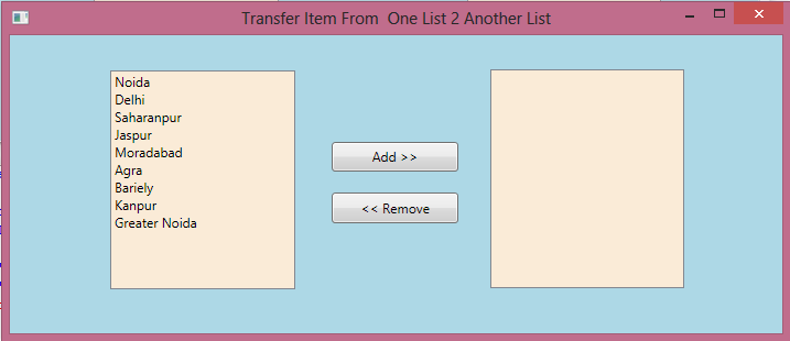 Transfer Data From One List to Another In WPF 1.png