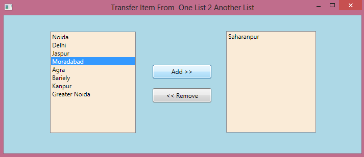 Transfer Data From One List to Another In WPF 3.png