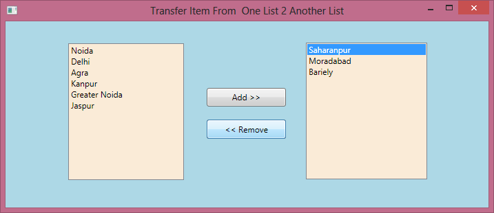 Transfer Data From One List to Another In WPF 5.png